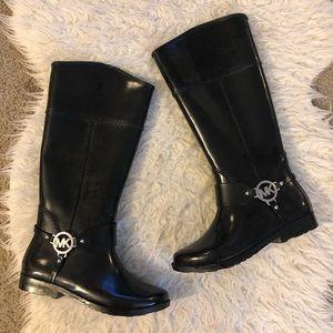 Michael Kors black tall rubber rain boots